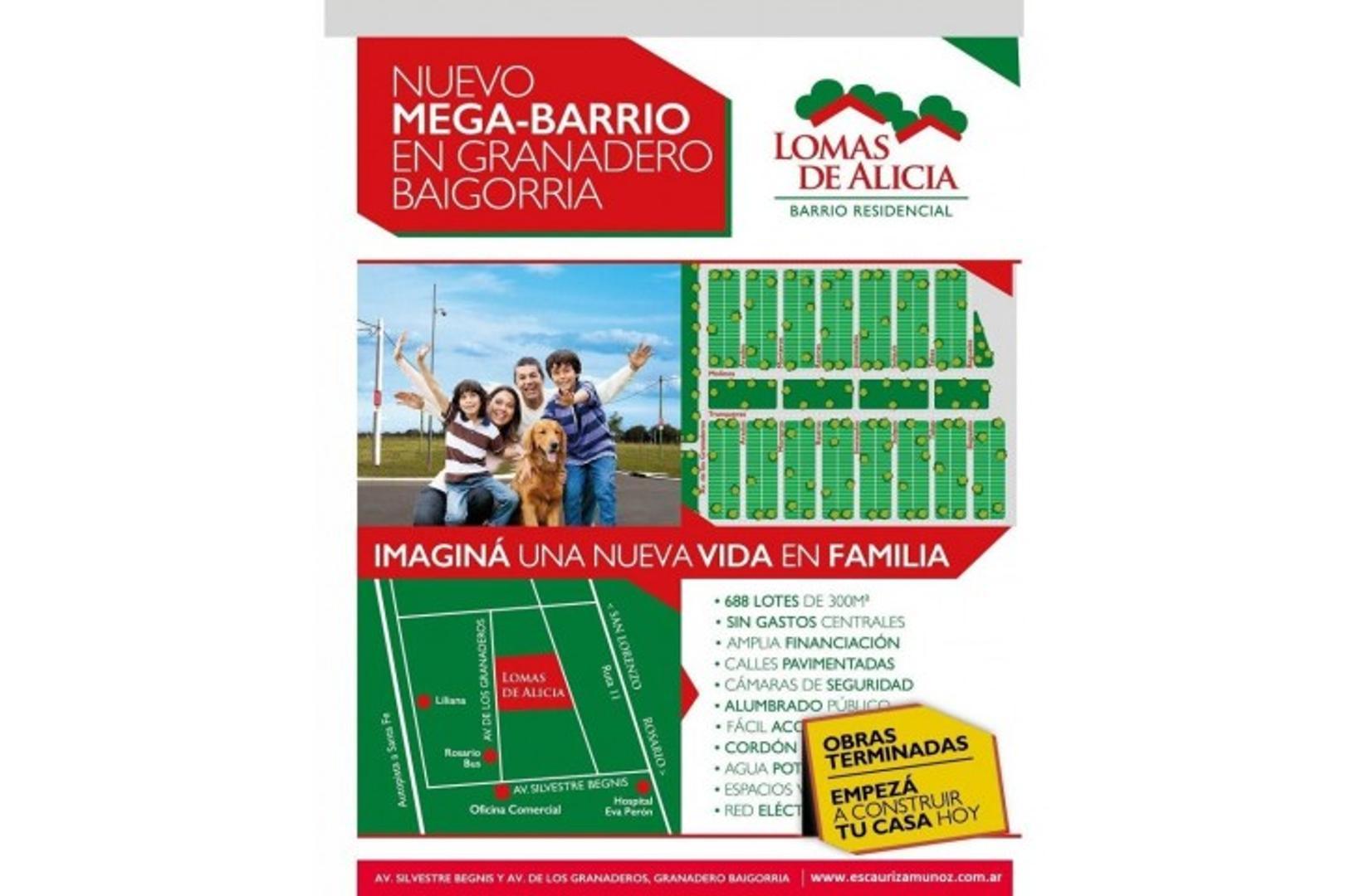 Granadero Baigorria: Barrio abierto Lomas de Alicia, Terrenos de 300 m2 en Venta, Santa Fe, Arg...